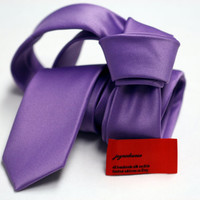 Skinny or Regular Tie (2 or 3 inch) in Satin Solid Lilac Purple