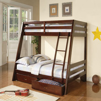 Cappuccino Twin/Full Bunk Bed with Storage Drawers