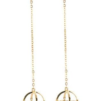 Metal Orbit Charm Long Chain Post Pin Earrings