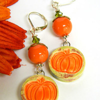Orange Ceramic Pumpkin Earrings Short Fall Silver Holiday Handmade