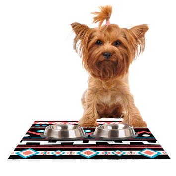 "Nika Martinez ""Black Tipi"" Red Tribal Dog Place Mat"