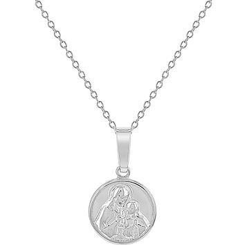 925 Sterling Silver Jesus Christ and Virgin Mary Medal Pendant Girls Necklace 16""
