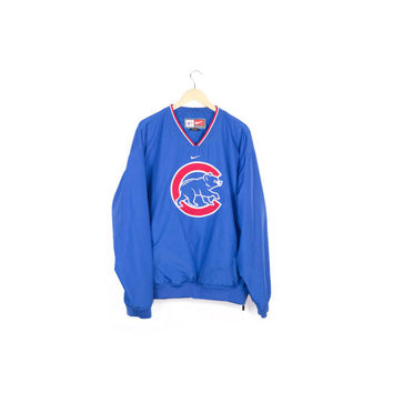 NIKE CHICAGO CUBS windbreaker jacket / mlb / pullover / embroidered sewn new era bear logo / baseball / blue & red / men extra large l - xl