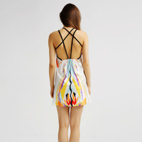 White Abstract Print Caged Back Dress