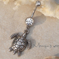 Turtle Belly Button Ring- Crystal Belly Ring- Silver Turtle Charm Dangle Navel Piercing Bar Barbell- B001