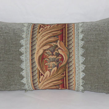 "Smoky Aqua Tapestry Pillow,  Chenille and Tapestry, Grey Rust Gold Terracotta, Luxurious Manor Style, OOAK,  12x20"" Rectangle, Ready To Ship"