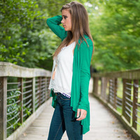 Green Long Sleeve Cardigan Coat