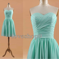 2014 Custom Strapless Short Length Sweetheart Ruffle Chiffon Prom Dress Elegant Bridesmaid Dress Adorable Evening Gown Party Gown