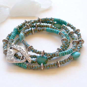 Three Way Turquoise Bracelet / Necklace * Boho Tibetan Style Jewelry - Tribal Jewelry - Turquoise Jewelry - Ships Free US