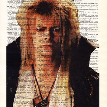 David Bowie, Jareth, Goblin King, Labyrinth Movie Poster, Dictionary Art Print, Living Room Decor, Boyfriend Gift,