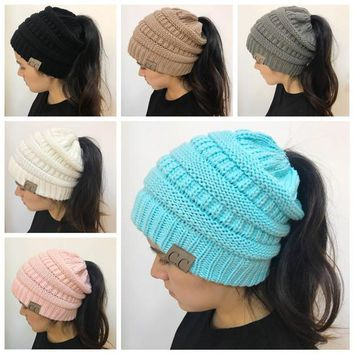 Original Women CC Ponytail Caps CC Knitted Beanie Fashion Girls Winter Warm Hat Back Hole Pony Tail Autumn Casual Beanies