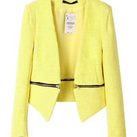 Long Sleeve Cropped Blazer with Zip Decor