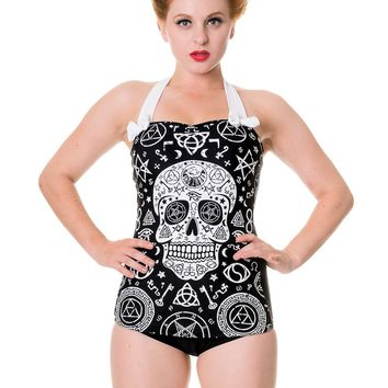 "Women's ""Skull Pentagram"" Swimsuit (Black)"