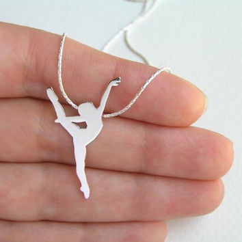 Dancer Necklace Pendant - Silver Ballerina Necklace - Ballet Dancer Silhouette - Ballet Jewelry - Hand Cut