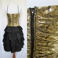 Vintage Cocktail Dress 80s Party Dress Black and Gold Small