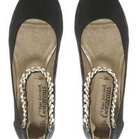 New Look   New Look Lainy Chain Black Ankle Strap Ballerina Shoes at ASOS