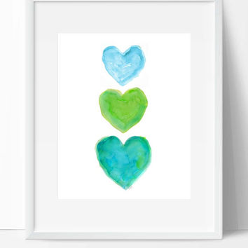 Turquoise and Lime Art, Aqua and Lime, 8x10 Beach Nursery Decor, Green and Blue Art, Turquoise Room Decor, Aqua and Lime Girls Room