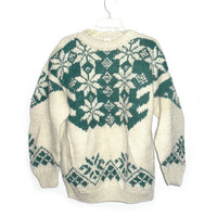 Mens bohemian indie hipster hippie handmade ugly christmas sweater ecuador cosby coogi style teal snowflakes wool extra large