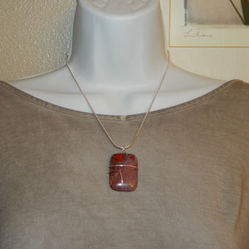 60ct. Red Mix Stone, Semi Precious, Agate, Pendant, Necklace, Rectangle, Natural Stone, 160-15