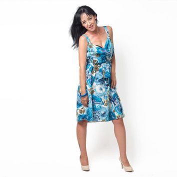 80's vintage Ann Taylor summer dress with a blue floral print