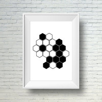 Black And White Wall Art Print, Modern Print, Geometric Art, Digital Wall Art, Instant Digital Download Art,  Black And White Home Decor Art