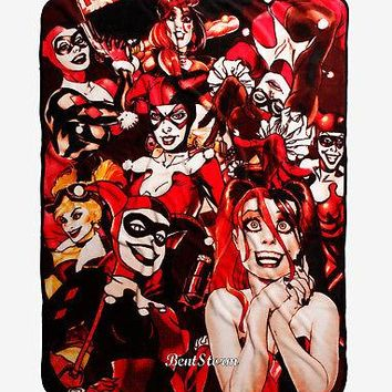 "Licensed cool BATMAN HARLEY QUINN Many Faces SUPER PLUSH THROW BLANKET DC  48"" x 60"" NEW"