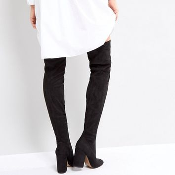 4bf5b8411dc ASOS KATCHER PETITE Heeled Over The Knee Boots at asos.com