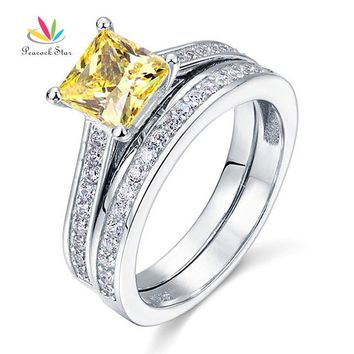 Peacock Star 1.5 Ct Princess Cut Yellow Canary Solid 925 Sterling Silver 2-Pcs Wedding Ring Set CFR8194S