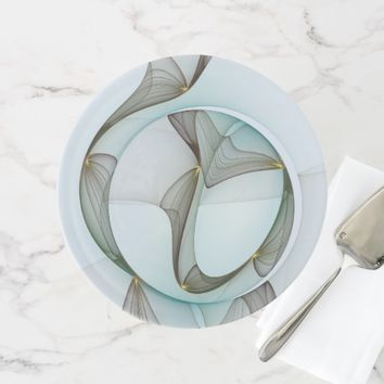 Abstract Modern Turquoise Brown Gold Elegance Cake Stand
