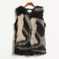 Block Black Faux Fur Vest Coat