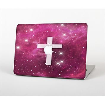 The Vector White Cross v2 over Glowing Pink Nebula Skin Set for the Apple MacBook Pro 13""