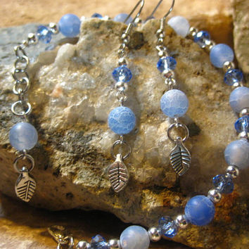 Light Blue Dragons Vein Agate and Light Blue Crystals with Cute Little Leaf Charm Beads Bracelet & Earrings Set