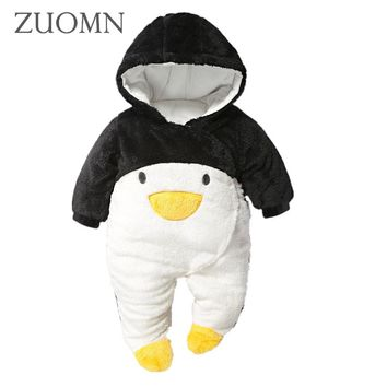 Winter Newborn Baby Clothes For Girls Boys Rompers Hooded Plush Jumpsuit Winter Overalls Infant Clothes Y812