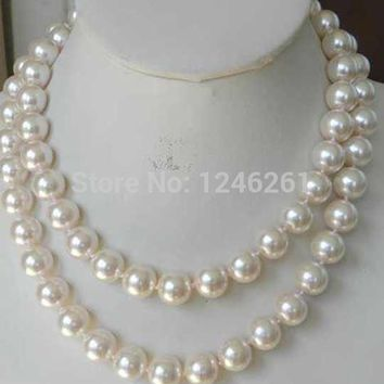 Super Long 12mm White Sea Shell Pearl Necklace Beads Jewelry Making Natural Stone Rope Chain 48inch(Minimum Order1)