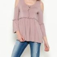 3/4 Sleeves Merrow Detail Top Dusty Mauve