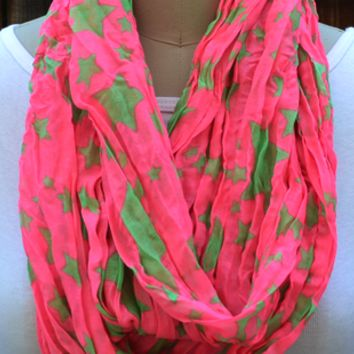 Light Stars print Infinity Scarf Neon Pink / Green