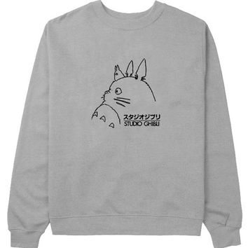studio ghibli sweater Gray Sweatshirt Crewneck Men or Women for Unisex Size with variant colour