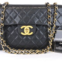 AUTH CHANEL JUMBO XL QUILTED BLACK LAMBSKIN LEATHER CC FLAP CHAIN SHOULDER BAG
