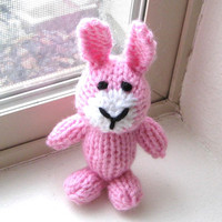 "Hand Knit Pink Bunny - Little Knit Animal Easter Bunny Toy Stuffed Animal - Newborn Photo Prop - Baby Girl Rabbit Stuffed Toy 4 3/4"" Tall"