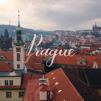 Prague Rooftop View Calligraphy Art Print | Prague art, Prague print, Prague photography, Czech Republic, Colorful wall art, lettering