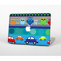 "The Cartoon Colored Vector Owls with Cars Skin Set for the Apple MacBook Pro 13"" with Retina Display"