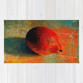 Lemon Still Life, Lemon Graffiti, Orange - Decorative Throw Rug, 3 Sizes Available - Kitchen, New Home, Bathroom - Made To Order - LG#84