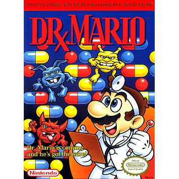 Retro Dr. Mario Game Poster//NES Game Poster//Video Game Poster//Vintage Game Cover Reprint