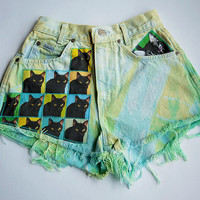 Vintage High Waist Green Blue Yellow Bleached Distressed Denim Cut Off Cat Shorts