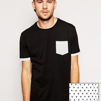 ASOS Longline T-Shirt With Star Print Double Layer Effect And Skater F