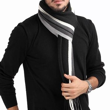 2016 New fashion designer Men Classic Cashmere Scarf Winter Warm Soft Fringe Striped Tassel Shawl Wrap striped scarf men scarves