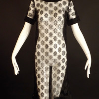 1960s Black Floral Lace Dress, Bust-34