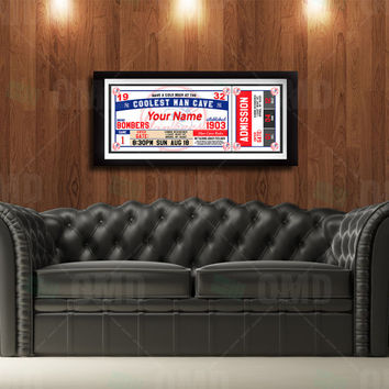 New York Yankees Ticket Style Poster - Man Cave Rules - 22wx8.5h
