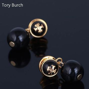 Tory Burch High Quality Fashion New Pearl Long Earring Accessories Women Black