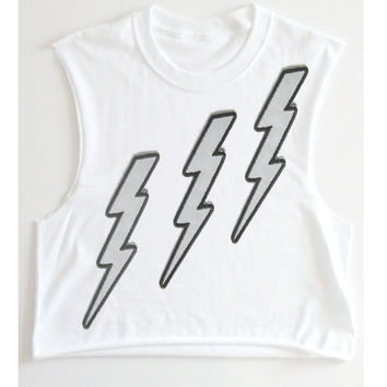lightning shirt, punk shirt, statement clothing, emo shirt, goth clothing, David Bowie style, flash, Lightning bolt, gym shirts, gym tank,